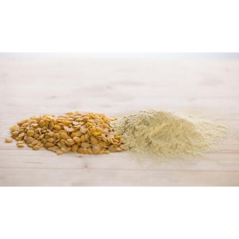 Yellow lentil flour and grains